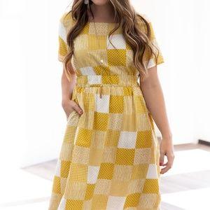 Mustard/White Autumn Midi Dress w/pockets